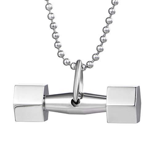 DonDon Collana da Uomo con Ciondolo a Forma di Peso in Acciaio Acciaio Inossidabile Argento in sacchettino portagioie