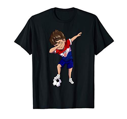 Dabbing Soccer Boy Youth Croatia Jersey T-Shirt