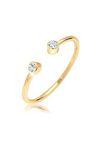 Elli anillos de compromiso para mujer con solitario y cristales de Swarovski, fabricados en plata de ley 925 chapado en oro