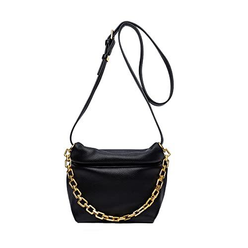Bolsos de hombro de cuero sintético acolchado pequeño para mujer, bolso cruzado suave ligero con diseño de correa de cadena dorada, negro (Negro), Small