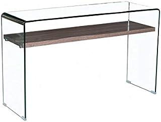 Consolle Luxury In Vetro Temperato E Ripiano in Legno Design Moderno Ed Elegante 125 x 76 x 40 Cm Rovere Tavolo Per Studio Salotto Salone Ufficio Z-85