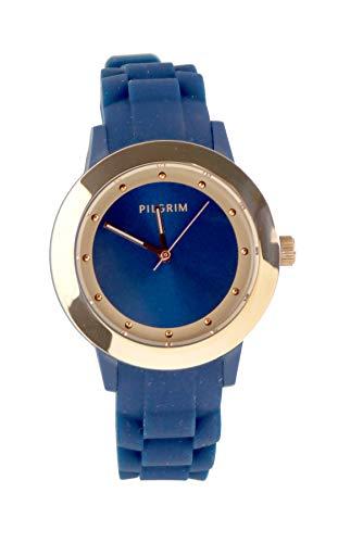 PILGRIM Damen Uhr Quarz 9701534220 blau Rose, Silikon
