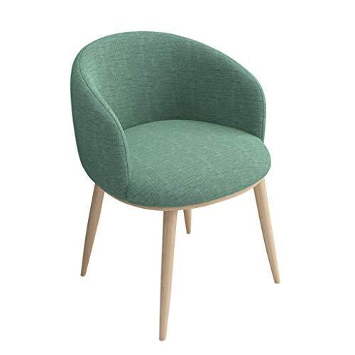 ZYXF Retro Comedor Silla,Tela Paño Soft Cushion sillón Respaldo Madera el Estilo Metal Patas Oficina Lounge Café Silla Cocina (Color : Green)