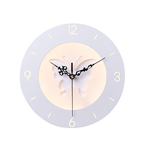 LIZHIQIANG Chevet/Chambre À Coucher Horloge Décoration Créative Lampe, Salon Lampe Murale, Chambre D'enfant Peinture Murale, Lampe Murale, Blanc (Couleur : Circular butterfly yellow)