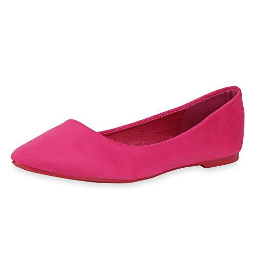 SCARPE VITA Damen Klassische Ballerinas Wildleder-Optik Schuhe Spitze Slip On Flats Freizeit Slipper Schlupfschuhe 181592 Pink 36