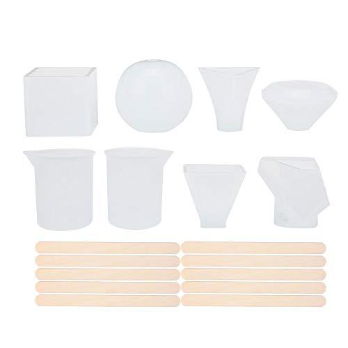 18 piezas de resina epoxi, molde de silicona para medir vasos medidores DIY bisutería accesorios para colgante, pulsera, llavero, etc.