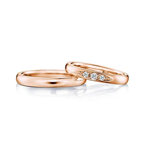 Bishilin Damen Herren Ringe Rotgold 750 Echt Rund Poliert Breit 3MM Verlobungsringe Rosegold Hochzeitsringe Diamant 0.15ct Damen Gr.58 (18.5) & Herren Gr.56 (17.8)