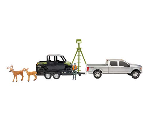 Big Country Toys Deer Hunting Set - 1:20 Scale - Ford F250 - Polaris Ranger - ATV Trailer - Accessory Pack - 9 Piece Toy Set