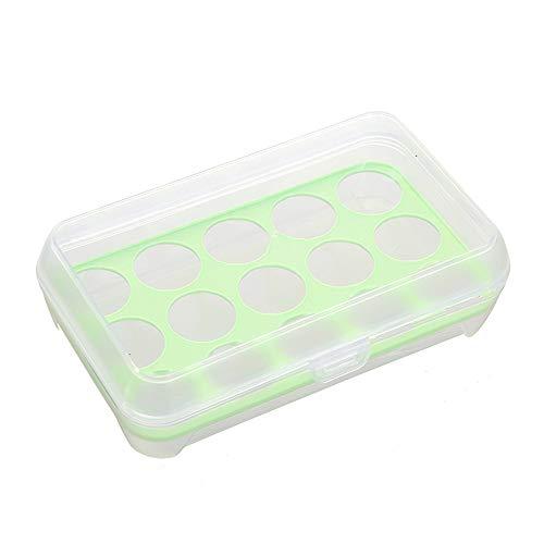 10 stuks 15 eieren, koelergrill, tablethouder met deksel van kunststof, stapelbaar, ruimtebesparend in de koelkast en houdt de eieren stabiel en veilig.