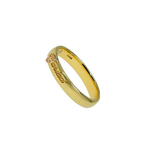 Clogau Gold Welsh Womens 9ct Yellow and Rose Gold Cariad Engraved Embossed Ring (R)
