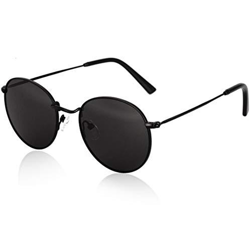 fawova Gafas Retro Vintage Hombre Negro, Gafas De Sol Redondas Mujer Polarizadas para Cara Pequeña, 100% UV400,Cat.3 50mm (Negro, Negro)