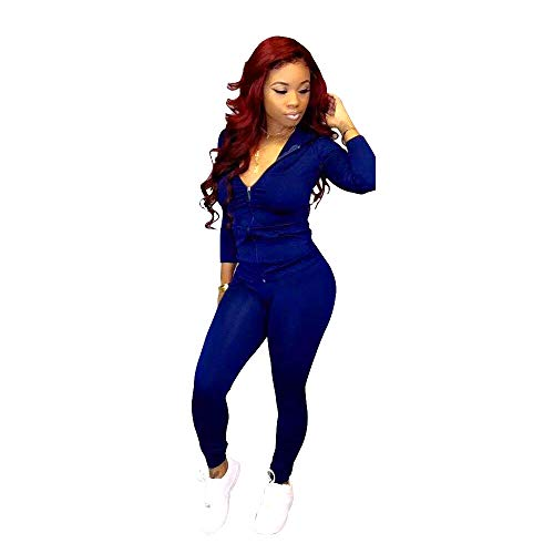 Adogirl Womens Sweatsuit Set Two Piece Outfits Top + Skinny Long Pants Tracksuits Jogging Suits Jumpsuits Blue