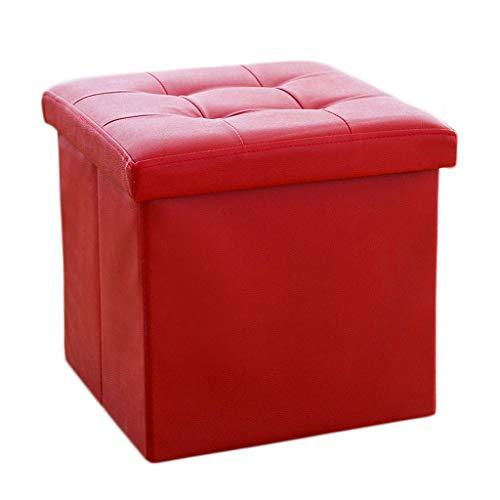 Ottoman Wddwarmhome Boîte de Rangement pour tabourets Pliables en PVC pour Le ménage - Capacité de Charge maximale 150 kg - Facile à Nettoyer -38 * 38 * 38cm (Couleur : Red)