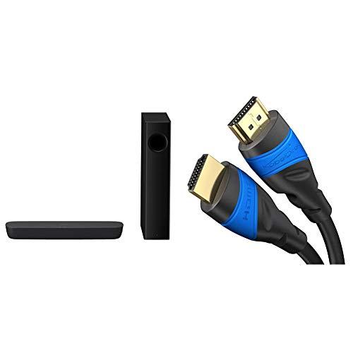Panasonic SC-HTB254EGK 2.1 Soundbar System mit Subwoofer schwarz & KabelDirekt – 1 m – 4K HDMI-Kabel (4K@120Hz & 4K@60Hz – spektakuläres Ultra-HD-Erlebnis – kompatibel mit HDMI 2.0/1.4, schwarz)
