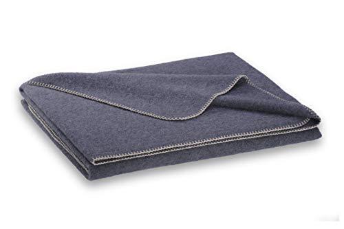 STEINER 1888 Graue Wolldecke aus 50% Merinowolle und 50% Alpaka, 190x150cm, umkettelt, ca 1000 g, waschbar