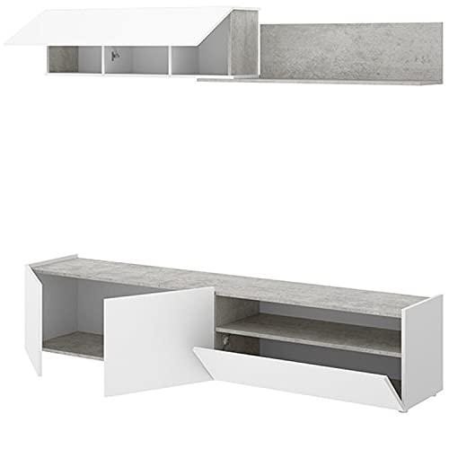 HABITMOBEL Mueble Comedor Salón Moderno, Blanco - Cemento, Medidas: 200 cm (Ancho) x 180 cm (Alto) x 41 cm (Fondo)