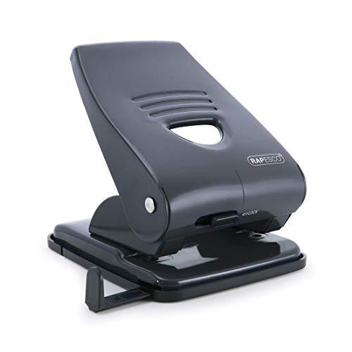 Rapesco 835 - Perforadora metálica, 2 agujeros, hasta 40 hojas de capacidad, color negro