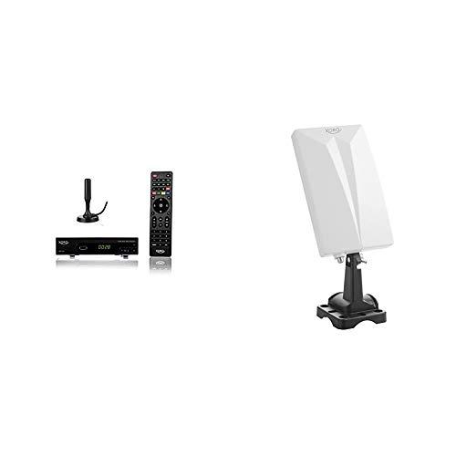 Xoro HRT 7620 KIT Full HD HEVC DVBT/T2 Receiver schwarz & HAN 600 DVB-T2 aktive Kombo Antenne mit eingebautem Verstärker (LTE Rauschfilter, 3,5m Anschlusskabel, für Außen und Innen) weiß