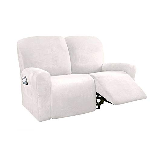 HUANXA Stretch Recliner Slipcover for 1 2 3 Seater Reclining, Velvet Sofa Cover for Recliner Furniture Protector for pet kids-White-Loveseat (6 PCS)