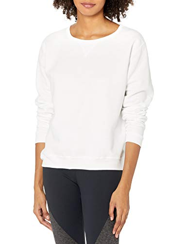 Hanes Women's V-Notch Pullover Fleece Sweatshirt, White, X Large