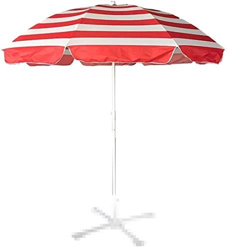 DXYSS Sombrilla Parasol con Ángulo Ajustable 2.4m de Rayas sombrilla de Playa Sombrillas, con Tres Capas de Metal 8 Marcos de Soporte Reforzado, for Café al Aire Libre balcón Piscina sin Base