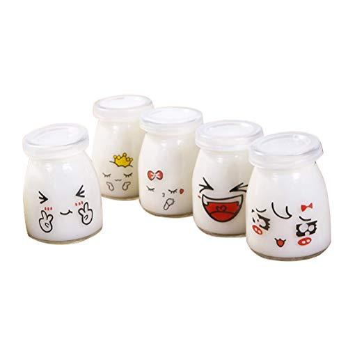 BESTonZON 5 stücke 150 ml Milchglas Flasche Portion Container Cup mit Deckel für Jelly Yogurt Mousses Zufällige Muster