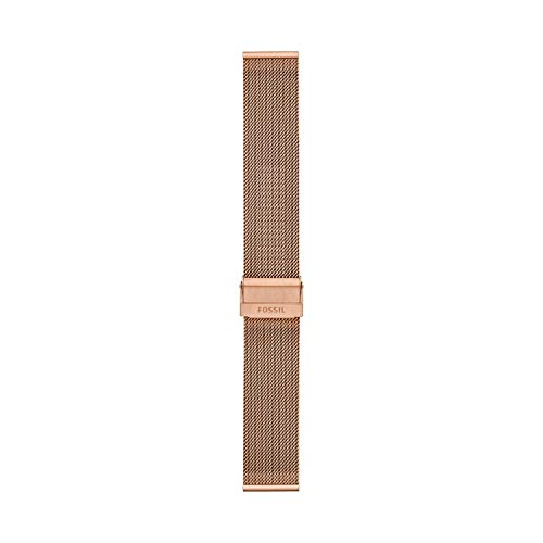 Fossil Unisex 22mm Mesh Interchangeable Watch Band Strap, Color: Rose Gold Mesh (Model: S221464)