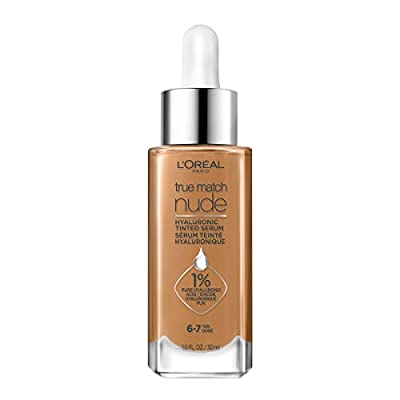 L'Oreal Paris True Match Nude Hyaluronic Tinted Serum The 1st Tinted serum with 1% Hyaluronic acid Instantly skin looks brighter, even and feels hydrated Makeup + Skincare, Tan 6-7, 1 fl. oz.