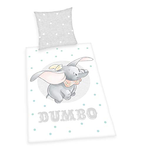 Herding Disney Dumbo Bedding Set, Reversible Design, Duvet Cover 135 x 200 cm, Pillow Case 80 x 80 cm, Cotton/Renforcé