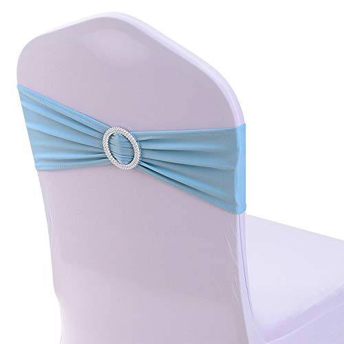 LOVEHOME LoveHomeBaby Elastic Spandex Chair Sashes Bows with Buckle Slider for Wedding Decorations Without Covers (50 Packs, Light Blue)