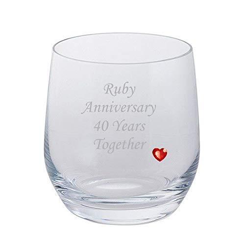 Dartington 2 Ruby Anniversary 40 Ans Ensemble Paire de gobelets Verres à Brandy avec Ruby Gem Cœur