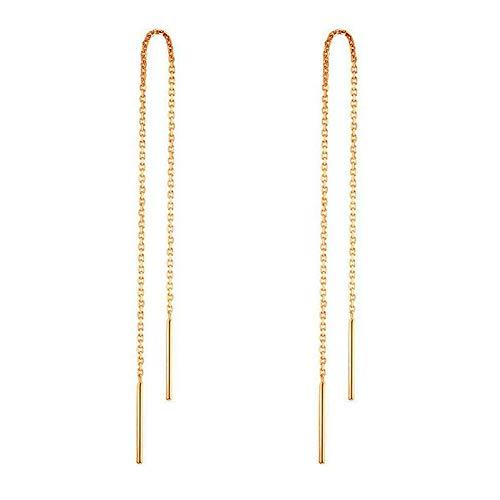14 k Pendientes de oro para mujer Pendientes colgantes Hilo de rosca Pendientes colgantes Minimalismo Pendiente de cadena larga sumergido (Dorado)