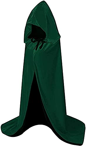 HBselect Capa con Capucha de Halloween, Larga Capa de Terciopelo para Adultos Niños, Disfraces de Halloween para Fiesta Cosplay Carnaval(Negro + Verde,150cm)