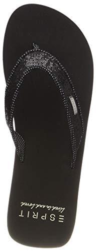 ESPRIT Damen Glitter Thongs Pantoletten, Schwarz (Black 001), 41 EU