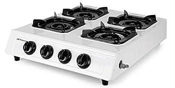 Orbegozo FO 4000 Réchaud à gaz, gaz butane ou propane, allumage piézoélectrique, quatre brûleurs triple couronne, usage extérieur, antidérapant, blanc et noir
