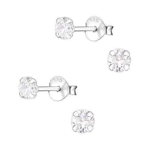 2 Paar Kleine 925 Silber Ohrstecker Ohrringe mit Zirkonia hell 4mm für Damen, Herren, Kinder und Jugendliche