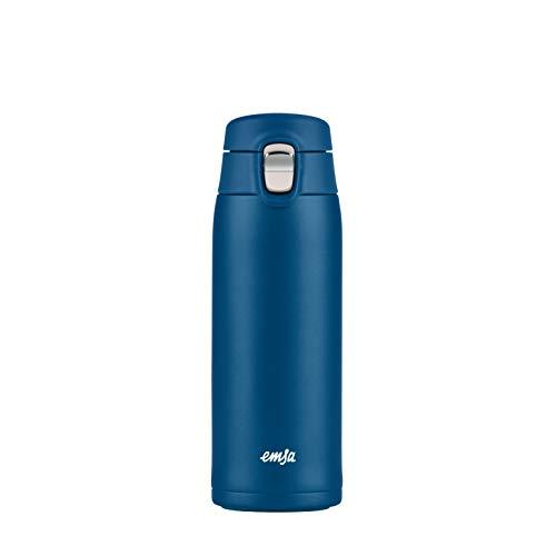 Emsa N21509 Travel Mug Light Thermo-/Isolierbecher aus Edelstahl | 0,4 Liter | 8h heiß | 16h kalt | BPA-Frei | 100% dicht | auslaufsicher | spülmaschinengeeignet | Klappverschlussystem | Blau