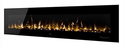Noble Flame Vegas 2410 Schwarz - Elektrokamin Wandkamin Kaminofen Kamin - Wandmontage Fernbedienung - Verschiedene Breiten