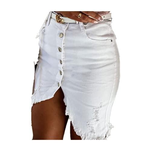 N\P Slim una línea de falda de mezclilla deshilachada mujeres de un solo pecho cepillado sexy