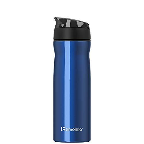 Timolino Botella de agua prémium de acero inoxidable, botella de agua para deporte, para el tiempo libre, camping, 600 ml, a prueba de fugas, a prueba de arañazos, color azul