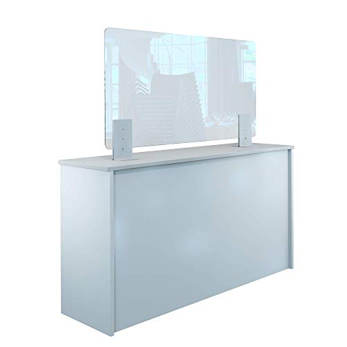 Rulopak Thekenaufsteller Trennwand/Spuckschutz Plexiglas klar mit Metallfüßen Weiß (Höhe justierbar) (B 120 x H 60 cm)