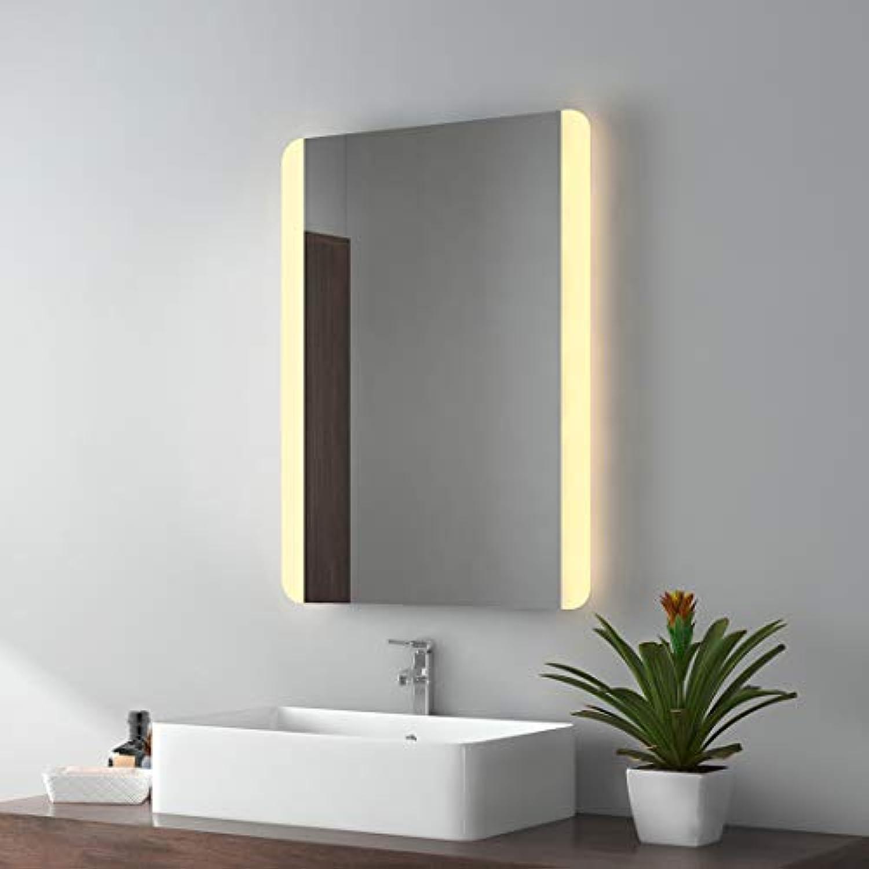 EMKE LED Badspiegel 50x70cm Badezimmerspiegel mit Beleuchtung Warmweissen Lichtspiegel Wandspiegel IP44 energiesparend