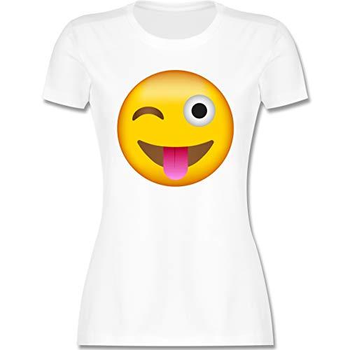 Comic Shirts - Emoticon herausgestreckte Zunge - L - Weiß - Comic - L191 - Tailliertes Tshirt für Damen und Frauen T-Shirt
