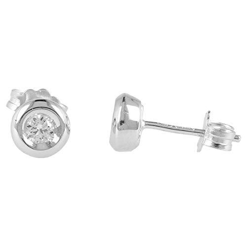 Gioiello Italiano - Orecchini tondi con diverse carature di diamanti in oro bianco 18kt, colore H, purezza SI, per donne o ragazze