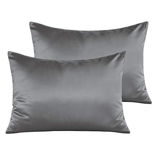 """NTBAY Satin Toddler Pillowcases, Travel Pillow Covers Set of 2, Zipper Closure, Super Soft and Luxury, 13""""x 18"""", Dark Grey"""