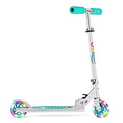 BELEEV V1 Scooters for Kids 2 Wheel Folding Kick Scooter for Girls Boys, CSPC&ASTM Safety Certified, 3 Adjustable Height, PU LED Light Up Wheels for Children 4 Years and up by BELEEV