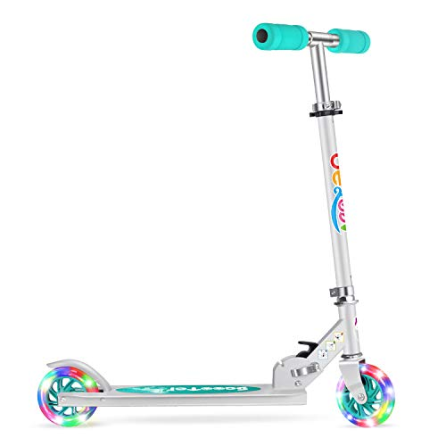 2 wheels scooters Beleev V1 Scooters for Kids 2 Wheel Folding Kick Scooter for Girls Boys, 3 Adjustable Height, Light Up Wheels for Children 3 to 14 Years Old