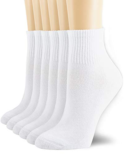 6 Pack Women's Running Sports Ankle Cotton Athletic with Thick Cushioned Performance Breathable Socks White 9-11