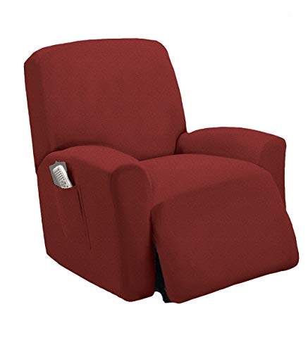 TT LINENS One Piece Stretch Recliner Slipcover Chair Recliner Cover Lazy Boy Slipcover Stretch Fit Furniture, Sonia (Burgundy/Red)