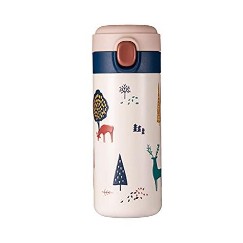 Taza Termo Pequeña, 350ML Reutilizable Botella de Agua Deportiva de Vacío Aislada Botella de Agua de Acero Inoxidable Termo a Prueba de Fugas Tazas de Viaje Fácil de Limpiar-azul